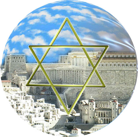 Judaism star of David over Jerusalem